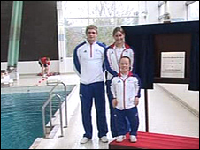 Ellie Simmonds (front) helps to reopen pool