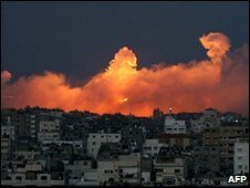 Smoke and fire over Jabaliya, Gaza, on 9 January 2009