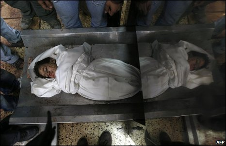 The body of a Palestinian boy lies in a morgue in Gaza City on 11 January 2009
