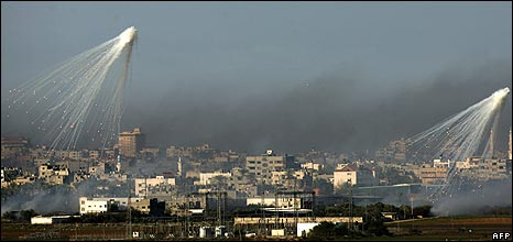 Israeli shell bursts overe Gaza