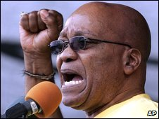 Jacob Zuma addresses supporters in East London, South Africa, 10 January 2009