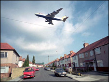 Plane flying over homes near Heathrow