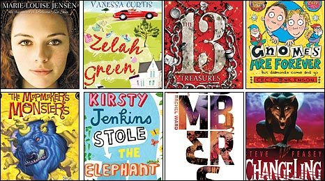Covers of Waterstone's Children's Book Prize shortlist