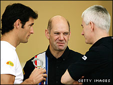 Mark Webber, Red Bull chief technical officer Adrian Newey and technical director Geoff Willis