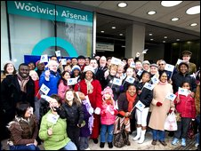 Local people celebrate the station's opening on Saturday