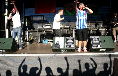 Hip hop band perform on stage