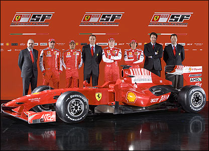 Ferrari team principal Stefano Domenicali (centre) and drivers Felipe Massa (on his left) and Kimi Raikkonen (on his right) launch the new Ferrari