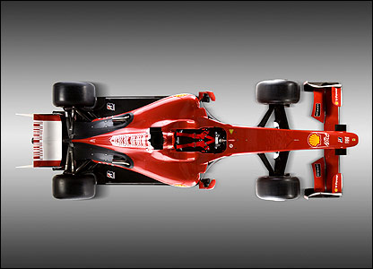 An aerial view of the Ferrari F60