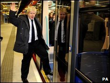 The Mayor of London Boris Johnson opens the new DLR extension at Woolwich Arsenal