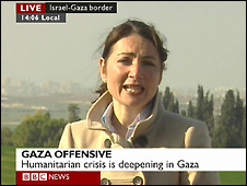 Video grab of the BBC's Katya Adler reporting live from the Israeli-Gaza border - 9/1/2009
