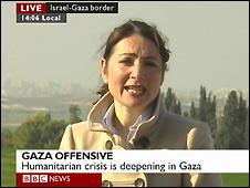 Video grab of the BBC's Katya Adler reporting live from the Israeli-Gaza border - 9/1/2009