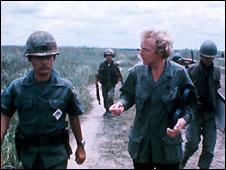 The BBC's Brian Barron interviewing Vietnamese soldier, Vietnam 1974