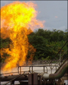 A Shell gas flare in the Niger Delta [photo courtesy Social Action]