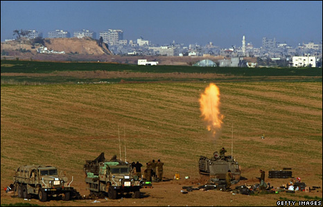 Israeli artillery fire on the Gaza Strip
