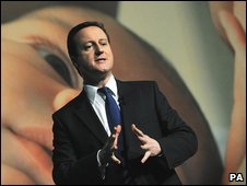 David Cameron at Conservative poster campaign launch