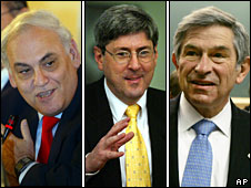 Prominent Neo-cons (from left): Richard Perle, Douglas Feith and Paul Wolfowitz