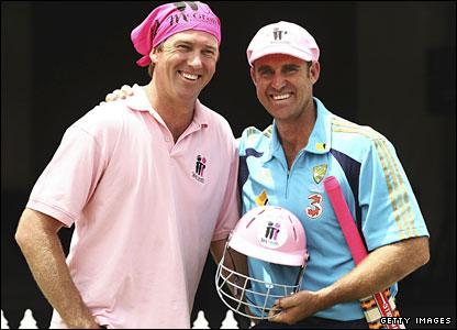 Hayden (right) with former team-mate Glenn McGrath