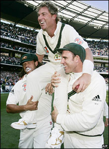 Matthew Hayden (right) and Andrew Symonds lift Shane Warne onto their shoulders after beating England at Melbourne in 2006 - a match in which Hayden and Symonds hit centuries