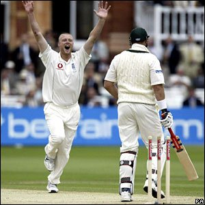 Andrew Flintoff celebrates after dismissing Hayden in the first Test at Lord's in 2005