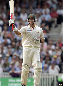 Matthew Hayden raises his bat after reaching his century on the third day of the final Test at The Oval