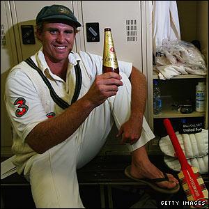 Matthew Hayden celebrates