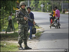 File image of a Thai soldier in the southern province of Pattani