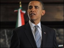 Barack Obama pictured on 12 December during a meeting with Mexican President Felipe Calderon