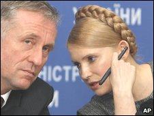 Ukraine Prime Minister Yulia Tymoshenko speaking to Czech Prime Minister Mirek Topolanek