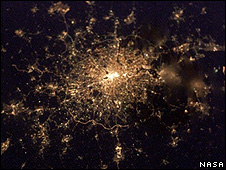 Satellite image of London at night (Image: Nasa)