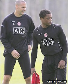 Patrice Evra (right) and Rio Ferdinand