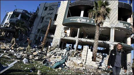 Ruined building in Gaza - photo 13 January