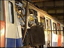 Aldgate train after bombing
