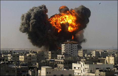 A building explodes after an Israeli air strike in Rafah