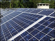 Roof with solar panels (