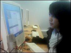 A School Reporter from South Chadderton School edits an audio news report