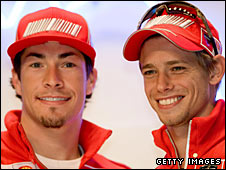 Nicky Hayden (left) and Casey Stoner (right)