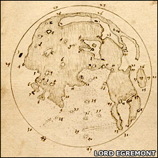 Thomas Harriot's Moon map (Image courtesy of Lord Egremont)