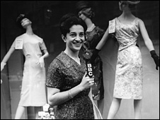 Parvin Sarfi of the BBC Persian Service looking at the London shops (1963)