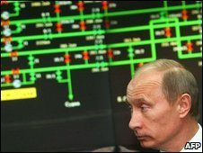 Vladimir Putin inspects the inside of the central control room at the Gazprom headquarters in Moscow, Russia, 13 January 2009