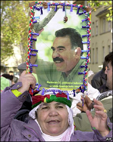 Protest in Strasbourg against imprisonment of Abdullah Ocalan (2000)