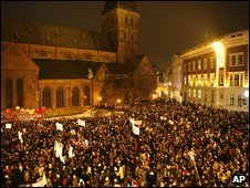 Latvians at an anti-government rally in the historic old town, Riga, Latvia, 13 January 2009