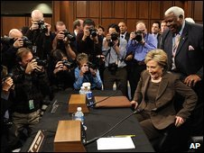 Hillary Clinton takes her seat on Capitol Hill before her confirmation hearing, Washington, US, 13 January 2009