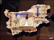A close-up of the Entropa installation which shows Bulgaria as a basic toilet, Brussels, Belgium, 13 January 2009