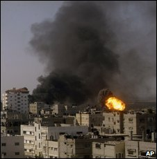 An Israeli air strike in Rafah, in the Gaza Strip, on 13 January 2009