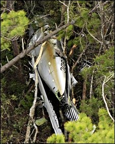 A single-engine Piper Malibu Meridian flown by Marcus Schrenker is seen after having crashed in East Milton, Florida