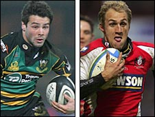Northampton's Ben Foden and Gloucester's Olly Morgan