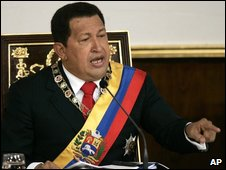 President Chavez delivers the state of the union address on 13 January