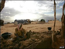 File photograph of displaced woman from Darfur in Sudan