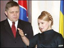 Slovakian prime minister Robert Fico and Ukrainian prime minister Yulia Tymoshenko