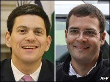 David Miliband (left) and Rahul Gandhi